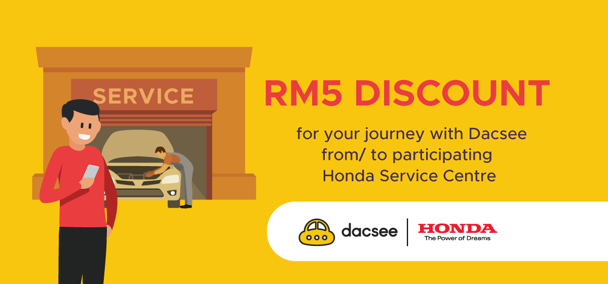 Get RM5 Off Rides When You Go to/from Honda Service Centre with Dacsee!